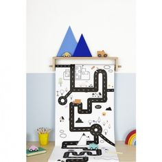 Shop Olli Ella's Playpa - an roll of paper printed with a repeating Road design. Colour, sticker, play on it and decorate walls with it. Playroom Organization, Minimal Decor, Christmas Gifts For Kids, Baskets On Wall, Kid Spaces, Display Shelves, Painting For Kids, Craft Activities, A Table