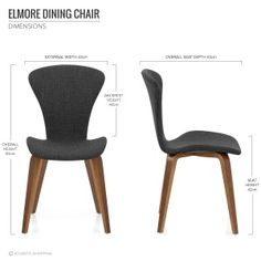 Elmore Dining Chair Walnut & Charcoal
