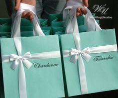 Bridesmaids gift bag with satin ribbon bow & custom name