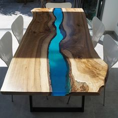 What is a river table? and How to make amazing river table with stylish epoxy river table designs for your interior, what advantage and disadvantage for the epoxy table, how to place it in the interior Resin Furniture, Painted Furniture, Outdoor Furniture, Outdoor Decor, Table Wood Design, Table Designs, Wood Resin Table, Natural Wood Table, Design Tisch