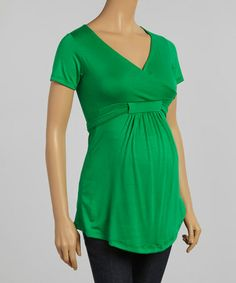 Look what I found on #zulily! Green Maternity Surplice Tunic #zulilyfinds