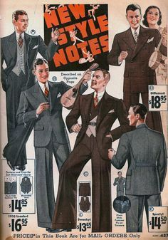 Men's suits with wide-leg trousers, Sears catalog,1934.