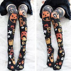 Thigh High Socks, Knee Socks, Thigh Highs, Elastic Stockings, Cute Stockings, Floral Tights, Halloween Fashion, Halloween Pumpkins, Spooky Halloween