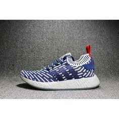 a42740accca 2017 Adidas Originals NMD R2 Salg Primeknit Blå Hvit-Rød Sko Billige