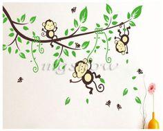 Jungle Monkey Tree Wall Sticker Vinyl Removable Kid Nursery Kids Art Decor Decal