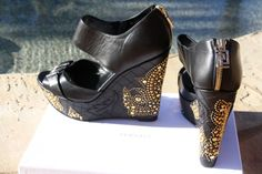 Versace Black studded wedge sandals Vanitas Studs quilted medusa shoe 40 10 NIB  | eBay