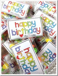 FREE tags for birthday treats ...from DoodleBugs Teaching (with other links for supplies)