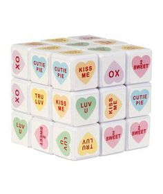 Sweet Talk Cube Puzzle: Rubik's Cube meets conversation hearts.