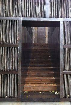 """""""LiYuan Library"""" entrancel   Huairou village, Beijing, China • Li Xiadong Atelier (designers: Li Xiaodong, Liu Yayun, Huang Chenwen, Panxi)."""