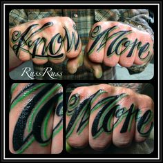 Knuckle tattoos By Russ Russ Fisk Badass Tattoos, Body Art Tattoos, Hand Tattoos, Tattoos For Guys, Color Tattoos, Hand And Finger Tattoos, Writing Tattoos, Knuckle Tattoos, Body Art Photography