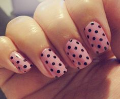Light Pink with Black Dots.