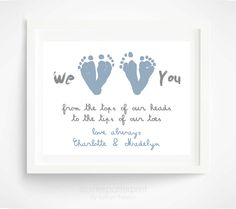 Father's Day Gift from Twins  Personalized by PitterPatterPrint, $35.00