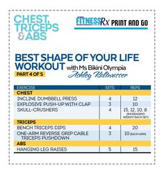 Best Shape Of Your Life Workout With Ms. Bikini Olympia Ashley Kaltwasser - Back, Triceps and Abs Card Workout, Boxing Workout, Gym Workouts, Workout Ideas, Workout Fun, Chest Workouts, Workout Plans, Workout Challenge, Weight Training