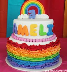 Amazing Rainbow Cake! Head here to learn how to make those precious clouds & other great Rainbow Party ideas!