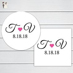 Initials Save the Date Clear Stickers (#292) - Wedding party invitations (*Amazon Partner-Link)