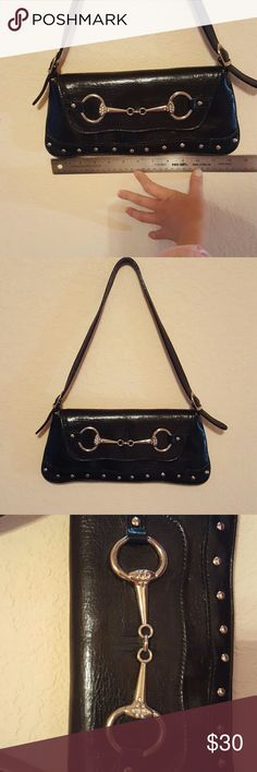 "Black leather purse, snaffle bit detail. Pristine pre-owned condition, 10"" drop on strap, clean interior, made in Italy Bags Mini Bags"