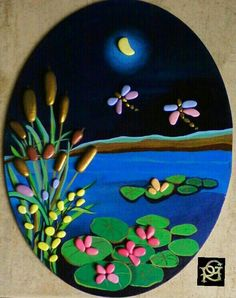 Lo stagno -Painted Stones di Rosaria Gagliardi [L] Stone Crafts, Rock Crafts, Clay Crafts, Pebble Painting, Pebble Art, Stone Painting, Pebble Stone, Rock Painting Designs, Paint Designs