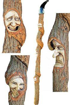 Cane, Walking Stick, Wood Spirit Carving by Josh Carte - by Josh Carte @ LumberJocks.com ~ woodworking community