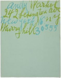 Andy Warhol letterhead, with lettering by Warhol's mother.