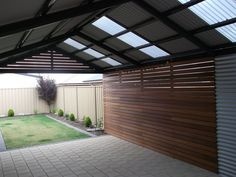 Multispan Gable Verandah with Timber infills and Corrugated Cladding - All Type .Multispan Gable Verandah with Timber infills and Corrugated Cladding - All Type Roofing WHAT IS ROOF CLADDING? Rooftop cladding includes the use of a . Roof Cladding, Metal Cladding, Wall Cladding, Brick Roof, Metal Roof, Pergola Screens, Corrugated Roofing, Outdoor Rooms, Steel Frame