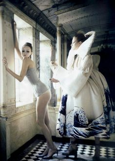 Lily Cole and Suvi Koponen in 'Atelier Couture' by Paolo Roversi    Vogue Italia March 2007