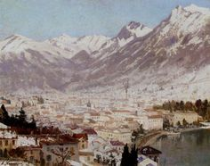 A view of Como - Adelsteen Normann - Canvas Artwork Oslo, Oil Painting Gallery, Oil Paintings, 1. Mai, Black And White Painting, Popular Artists, Reproduction, Cool Landscapes, Online Painting