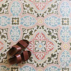Colorful Chalk Paint Painted Concrete Floor Stencils - Royal Design Studio Tile Stencils