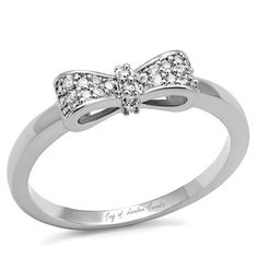 Perfect 2TCW Round Cut Russian Lab Diamond Bow Ring with Accents