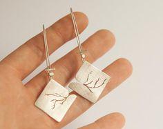 Long silver diamond earrings lightweight comfortable to by umya