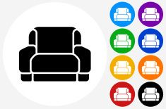 Armchair Icon on Flat Color Circle Buttons vector art illustration