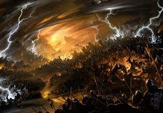 Magic the Gathering. Art by Raymond Swanland. Fantasy Battle, High Fantasy, Dark Fantasy Art, Medieval Fantasy, Fantasy World, Fantasy Paintings, Fantasy Artwork, Raymond Swanland, Altar