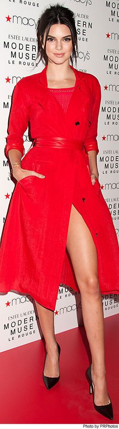 "Kendall Jenner wearing Ohne Titel red coat and top - Launches New Estee Lauder Fragrance ""Modern Muse Le Rouge"" at Macy's Herald Square - 09/18/2015"