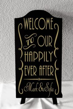 Custom Made Gatsby Themed Happily Ever After Sign For Your Wedding. Great Gatsby Themed Wedding, Roaring 20s Wedding, 1920s Wedding, Art Deco Wedding, Our Wedding, Speakeasy Wedding, Gatsby Party, Wedding Bells, Gatsby Wedding Decorations