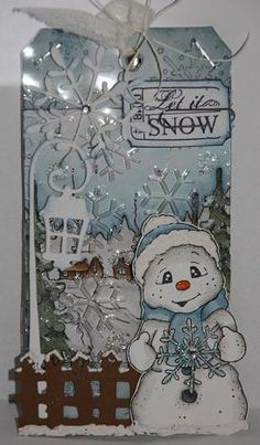Snoowie with Snowflake, So Jolly Collection, Magnolia stamps. Reminds me of my dear friend, Vicki Harter, who makes the sweetest Christmas tags. Christmas Cards To Make, Christmas Gift Tags, Xmas Cards, Handmade Christmas, Christmas Crafts, Magnolia Colors, Snowman Cards, Handmade Gift Tags, Magnolia Stamps