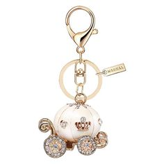 Bling White Princess Pumpkin Carriage Keychain with Pouch Bag Disney Engagement Rings, Disney Wedding Rings, Disney Keychain, Cute Keychain, Cool Keychains, Pumpkin Carriage, Skull Fashion, Punk Fashion, Lolita Fashion