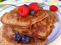 "When I first heard about these pancakes, I thought - there's no way this will be like actual pancakes. With no flour, milk, sugar or grains at all...what will these taste like? Turns out they are even better than ""real"" pancakes, and incredibly easy to make! With only 3 ingredients, you really have no excuse not to swap out your pancake recipe for this one. They fluff up perfectly, and are a serious crowd pleaser. Even the most die-hard pancake lovers will be shocked when you tell them t..."