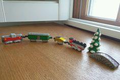 Vintage Hand Painted Folk Art Christmas Mini Ceramic Train Set Tree Bridge