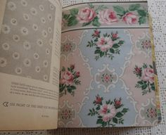 Vintage Wallpaper Sample Book Montgomery Ward  This vintage Montgomery Ward wallpaper sample book dates from 1953. The book has 53 samples with some