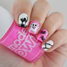 Nailpolis Museum of Nail Art Cute Halloween Nails, Halloween Nail Designs, Pink Halloween, Cat Nail Art, Cat Nails, Pink Nail Designs, Pretty Nail Designs, Nancy Nails, Cute Pink Nails