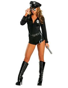 Get frisky while you're frisking dressed to arrest in our 7 Pc Lady Law Costume.  This classic must have costume set includes:     • Zip front romper  .• Grommet trim belt  .• Police cap  .• Badge  .• Baton  .• Toy handcuffs  .• Walkie talkie  .  Durably made from high quality nylon lycra blend.