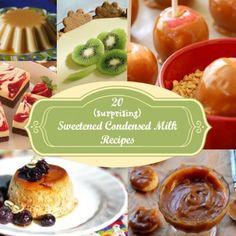20 Surprising Recipes with Sweetened Condensed Milk ~ Amo la leche condensada! Just Desserts, Delicious Desserts, Dessert Recipes, Yummy Food, Dessert Ideas, Mexican Desserts, Condensed Milk Desserts, Sweet Recipes, Yummy Recipes