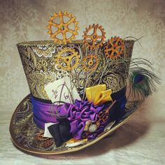 CUSTOM DESIGN full sized top hat - Steampunk, Alice in Wonderland, Mad Hatter, Pirate, Cosplay, Lolita, Clockwork, Victorian, Time Traveller, Mad Hatter, Adventurer, Explorer, Alternative, Sherlock. This listing is for fully trimmed full sized top hat, designed and decorated to your