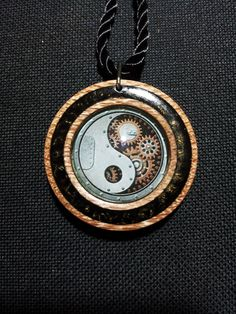 Steampunk Yin Yang Necklace in Oak with Black and Gold Sparkly Resin + Free Shipping Worldwide, Yin Yang Jewelry, Spiritual Jewelry by OurArtyCreations on Etsy