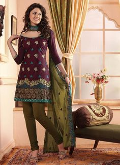 Wine Olive Cotton Embroidered Party Wear Dress Material.    Product Code : G3-LDM203390  Price : INR RS 1608