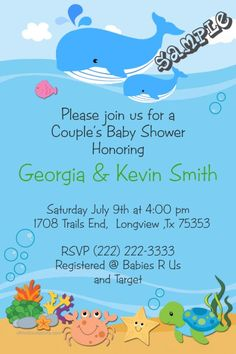 Whale ocean baby shower invitations.  Design online, download and print immediately!