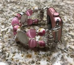 """Elegant Life: Beaded Bracelet Watch Band For 38mm Apple Watches Pink & Pink Rose Decorative Beads (for Wrist Sizes 6"""" - 6 1/4"""") (Pink52)"""