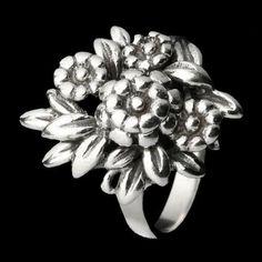 Anel de Prata Floral