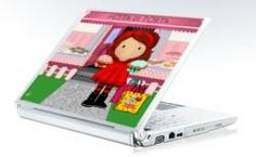 Cupcake Diva Laptop Skin  Know someone that is hooked on cupcakes or sweet things? A cute cover featuring a kawaii girl holding two cupcakes standing in front of a bakery. What on earth does fetta di torta mean? Piece of cake in Italian. :)