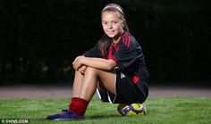 Aisha Saini, 10, from Lenzi, East Dunbartonshire, pictured in her new AC Milan kit, couldn't believe her luck when she was snapped up by the club's scouts
