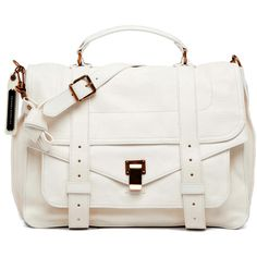 Proenza Schouler PS1 Large Leather in White ($1,995) ❤ liked on Polyvore featuring bags, handbags, shoulder bags, purses, bolsas, accessories, white, shoulder handbags, white leather shoulder bag and white handbags